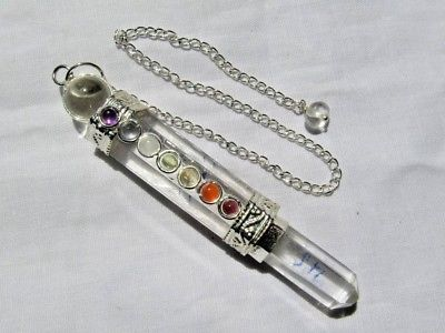 Crystal-Quartz-Healing-Pendulum-7-Chakra-Pendant-Wand